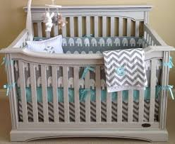 coral gray and white chevron baby bedding crib set by abusymother