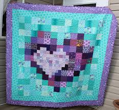wedding gift quilt daydreams of quilts purple and turquoise pixel heart in a pixel