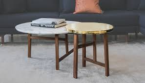 neri u0026 hu trio round walnut and marble top coffee table