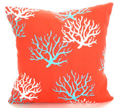 outdoor nautical pillow cover coral aqua white pillow covers
