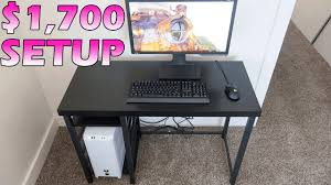 computer desk for gaming pc 1 700 college gaming pc and setup 2017 4k youtube