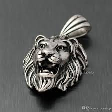 wholesale silver necklace pendants images Wholesale men 39 s huge vintage lion head necklace pendant silver jpg