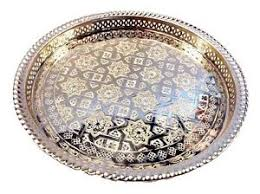 engraved silver platter moroccan tea silver tray engraved arabic pattern design 14 5 dia