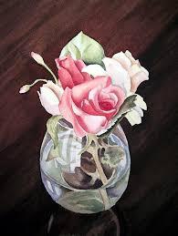 Glass Vase Painting Roses In The Glass Vase Painting By Irina Sztukowski