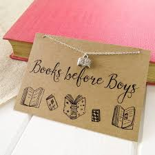 books before boys necklace by literary emporium
