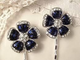 amazon com sapphire navy blue rhinestone art deco silver bridal