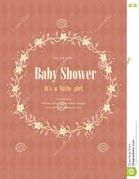 Babyshower Invitation Cards Baby Shower Invitation Card With Flower Crown Vector Illustrations