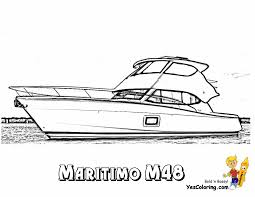cool yacht coloring page of 48 foot motor boat free sharp ships