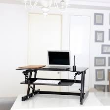 office desk with adjustable keyboard tray sodergren height adjustable sit stand desk laptop monitor riser