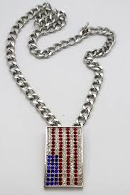 long necklace accessories images Silver metal chain links long necklace usa american flag pendant jpg