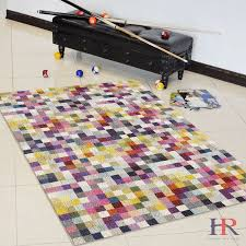 Modern Abstract Area Rugs Handcraft Rugs Geometric Faded Small Squares Multi Color Modern