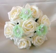 bridal flowers bridal flowers flowergirl posy wedding bouquet ivory mint green