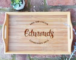 engraved serving trays custom serving tray etsy