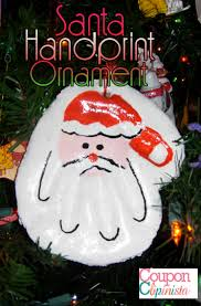 ornaments handprint santa claus ornament preschool