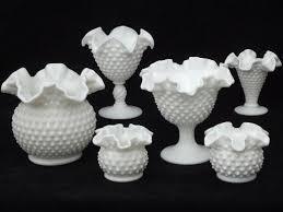 vintage fenton hobnail milk glass lot flower vases planters rose