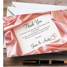 pink love note letter personalised wedding thank you cards the