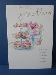 hand made birthday card happy birthday mother cake tea party