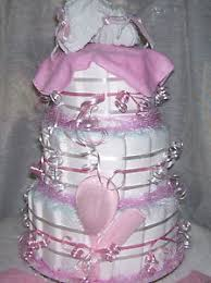 baby shower pink diaper cake kitty table decoration
