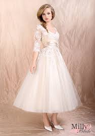 plus size tea length wedding gowns with sleeves wedding short