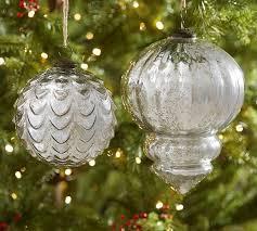 oversized silver mercury glass ornaments pottery barn