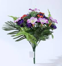 Flowers For Funeral 24 Flower Heads Purple Color Rose Lily Bush Artificial Flowers For