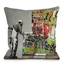 graffiti wallpaper 16 in x 16 in decorative pillow 71809pl16