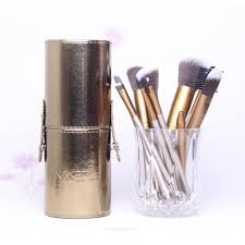 gold naked2 12pc makeup brush set travel tool with cyliner brush cup