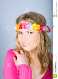 flower band happy summer woman with flower band stock photos