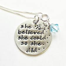 Personalized Stamped Necklace She Believed She Could So She Did Hand Stamped Necklace