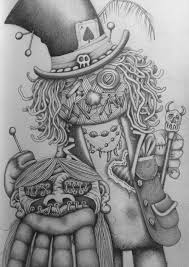 voodoo doll witchdoctor with shrunken head drawing sketch art