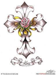 ribbon tattoos with names 50 cross tattoos tattoo designs of