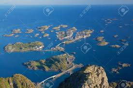 scenic town of henningsvaer on lofoten islands in norway with