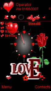 Love Themes For Nokia 5233 | animated love time clock red black mobile themes for nokia 5233