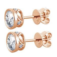 small diamond stud earrings bezel set diamond stud earrings with 0 07ct small diamond frame