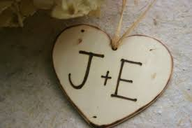 Christmas Ornaments With Initials Personalized Charm Tag With Carved Initials On A Wood Heart