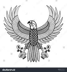hand drawn artistically egypt horus falcon stock vector 358522379