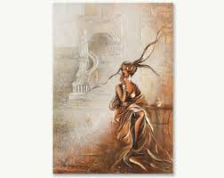 angel painting on canvas by raen textured gold oil painting on