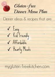 Free Dinner Ideas Gluten Free Dinner Menu Plan 1 Ideas For Easy Family Friendly