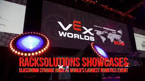 vex robotics led lights racksolutions showcases classroom storage rack at world s largest