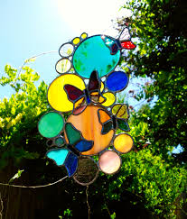 Home Decor Gifts For Mom Butterfly Suncatcher Colorful Bubbles Circles Stained Glass