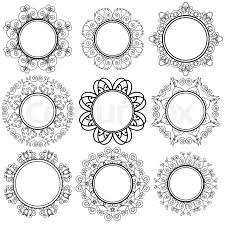 set of circle geometric ornaments isolated on white background