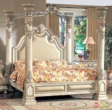 Antique King Bed Frame Inspired Antique White Luxury Poster Canopy Bed
