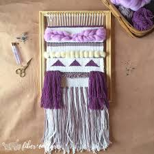 large handwoven wall hanging unique home decor purple and white