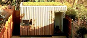 video production company run out of modern green garden shed in