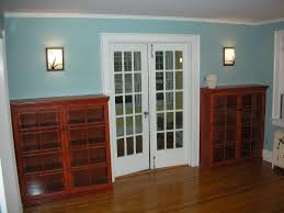 Glass Bookcase With Doors by Interior French Door And 2 Red Wooden Bookshelf With Glass Doors