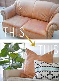 Leather Slipcover For Couch Diy Leather Pillow Tutorial U0026 How To Sew A Zippered Pillow Cover