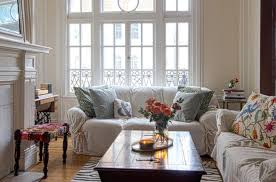 living room with white couches make your own simple couch covers