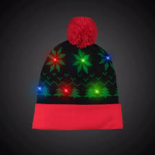 knit hat with led lights holiday led knit hat