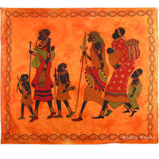 orange african family indian tapestry wall hanging bed cover home