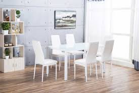 Glass Dining Table For 6 Designer Rectangle White Dining Table 6 Chairs Set Furniturebox